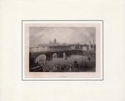 London, steel engraving 1850, original, 10 x 15 cm, England, passport, engraving, capital, river Thames