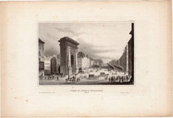 Porte St. Denis, acélmetszet 1850, eredeti, 10 x 15, metszet, Párizs, diadalív, Szent Dénes - kapu