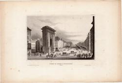 Porte st. Denis, steel engraving 1850, original, 10 x 15, engraving, Paris, triumphal arch, Saint Denis - gate