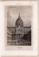 La Sorbonne (2), acélmetszet 1850, eredeti, 10 x 16, metszet, Párizs, Franciaország, Európa, egyetem