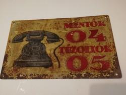 Mentők/Tűzoltók - antik/vintage fém tábla, ritkaság, - 1 forintról,garanciával!
