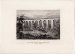 Starucca viaduct, steel engraving 1850, engraving, original, 10 x 15, america, erie, railway, new york state