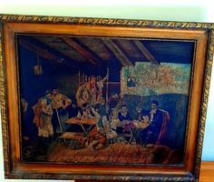 Szignózott 18-dik századi több alakos , olaj vászon festmény ! 70x55