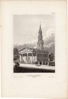 St. Pauls, Broadway, acélmetszet 1850, metszet, eredeti, 11 x 15, Amerika, New York, Szent Pál
