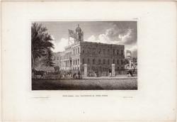 New york, town hall, steel engraving 1850, engraving, original, 10 x 15 cm, america, city - hall, east
