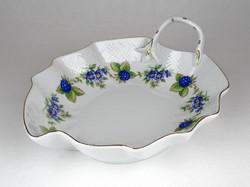 1C222 Szeder mintás Hollóházi porcelán levél alakú kínáló tál 21.5 cm