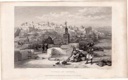 Tanger, fellegvár, acélmetszet 1837, eredeti, 9 x 15, metszet, Marokkó, Afrika, kasbah, citadella