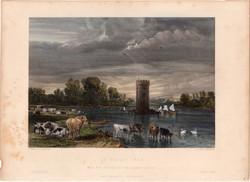Tabley park, steel engraving 1850, engraving, original, 17 x 25 cm, chesire, england, north, west, color