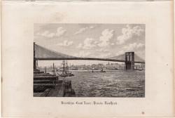 Brooklyn híd, acélmetszet 1870, metszet, eredeti, 9 x 14 cm, Amerika, New York, East River, kelet