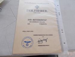 WW2,Ritterkreuz..tanusitvány,R