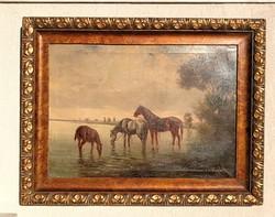 Ló itatás , széles keretben gyönyörű festmény. Tájkép lovakkal, vízparton lovakkal.