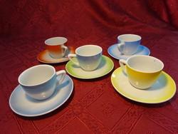 Drasche porcelán kávéscsésze + alátét. Színes készlet. Alátét átmérője 11,5 cm.