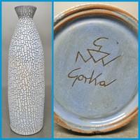 Halványkék repesztett mázas iparművészeti kerámia váza (1345)