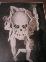 N7 Byssz Róbert 1920 bizarr szerelem és halál alkotása üveglapos ritkasága 1.kép Van egy másik képe