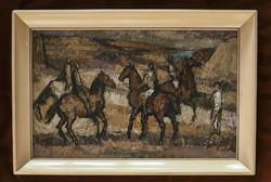 Lovas festmény ,Bencze Lászó - Lovasok olajfestmény