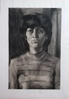 Ritkaság! Czeizek György (1953-1980) nagy méretű szénrajz! Női portré!