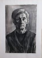 Czeizek György (1953-1980), nagy méretű szénrajz! Férfi portré!