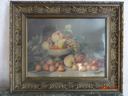 Antik nyomat (Falchetti gyümölcs csendélet ) üvegezett keretben