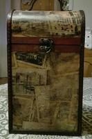Antik 35x21x13 cm kétrekeszes italtarto,.régi