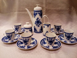 Német porcelán echt kobalt kávés, mokkás készlet, kiöntő, csésze, cukortartó, 6 személyes