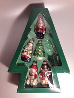Karácsonyfa üveg dísz öt darab dobozában katona maci karácsonyfa figurális