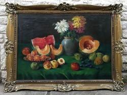 Hatalmas Csodálatos antik Gyümölcs-Viràg asztali csendélet 100x 70cm.Kiváló dekoráció, Blondel keret