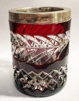 Ezüst peremes, csodás kristály váza