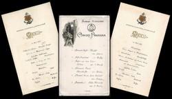 Normannia gyorsgőzös hajó menükártyái és koncertprogram kártyája  1893