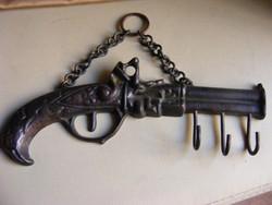 Réz pisztoly fali kulcstartó