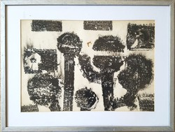 Vinkler László - Kompozíció 30 x 42 cm tus, papír keretezve