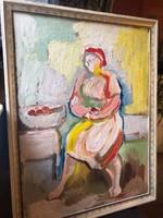 TÓTH MENYHÉRT (1904 - 1980 ) Lócán ülő asszony olaj-farostlemezen!