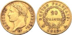 Napóleon császár arany 20 frank 1812.  6.43g, 21mm