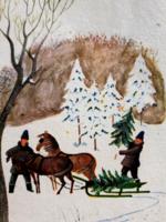 Régi karácsonyi képeslap 1966 lovasszános üdvözlőlap