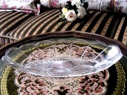 Szép, régi, öntött üveg, ovális, kínáló tálka, szép íves mintával