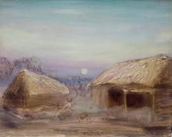 Őrségi este.40x50 cm-es kép, Károlyfi Zsófia Prim díjas alkotótól.Varázslatos vidéki hangulat.