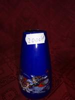 Japán porcelán váza, kobalt kék alap, arany szegély, magassága 11 cm.