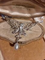 Szecessziós ezüst nyakék valódi gyönggyel