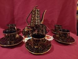 5 személyes Joseph Wrzesien Chodzież lengyel porcelán kávés készlet fekete arany 1960-1969 ig