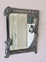 37 cm-es kvalitásos  ezüstözött ón  tükör, romantikus szecessziós lakásba