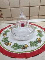 Üveg süteménytartó, csengő búrával.Gyönyörű asztalközép kínáló dísz