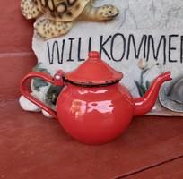 Zománcos, Zománcozott piros kávéskanna, nosztalgia darab, paraszti dekoráció