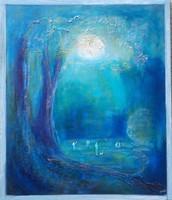 Kék liget. 95x80 cm-es porcelánmasszás kép. Károlyfi Zsófia Prima díjas alkotó műve