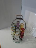 Szép Art deco  ital kínáló hibátlan poharakkal.