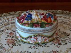 Capodimonte porcelán, nápolyi bonbonier, ékszertartó, szelence, fedeles doboz, hibátlan