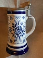 WMF echt kobalt porcelán fedeles korsó