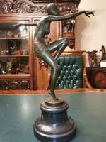 Tánconő - Art deco bronz szobor