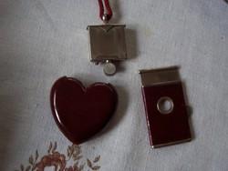 Szív alakú öngyújtó, cigaretta vég -levágó +apró drót végű kefe