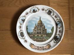 Paris - Sacre Coeur Bazilika, jelzett Francia O.V.E.T. porcelán tányér dísztányér