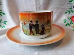 Régi Gésás Zsolnay teás csésze+alj (irizálos) 01.