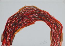 A. Varga Imre (1953)    Ív-kompozíció, 2007  technika: papír, tempera, jjl  méretek: 50 x 70 cm